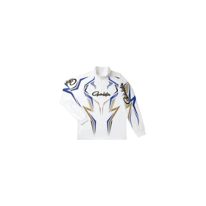 【お買い物マラソン】 がまかつ GM-3540 2WAYプリントジップシャツ(長袖) ホワイト/ブルー 3L / がまかつ シャツ 長袖