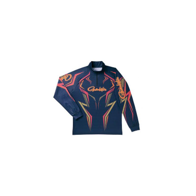 【お買い物マラソン】 がまかつ GM-3540 2WAYプリントジップシャツ(長袖) ネイビー L / がまかつ シャツ 長袖