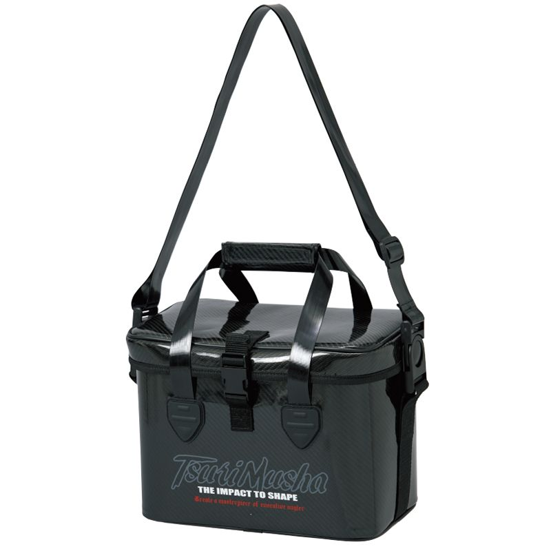 【お買い物マラソン ポイント最大44倍】 釣武者 IMPACT タックルバッグ M ブラック / 防水 ショルダーバッグ PVC
