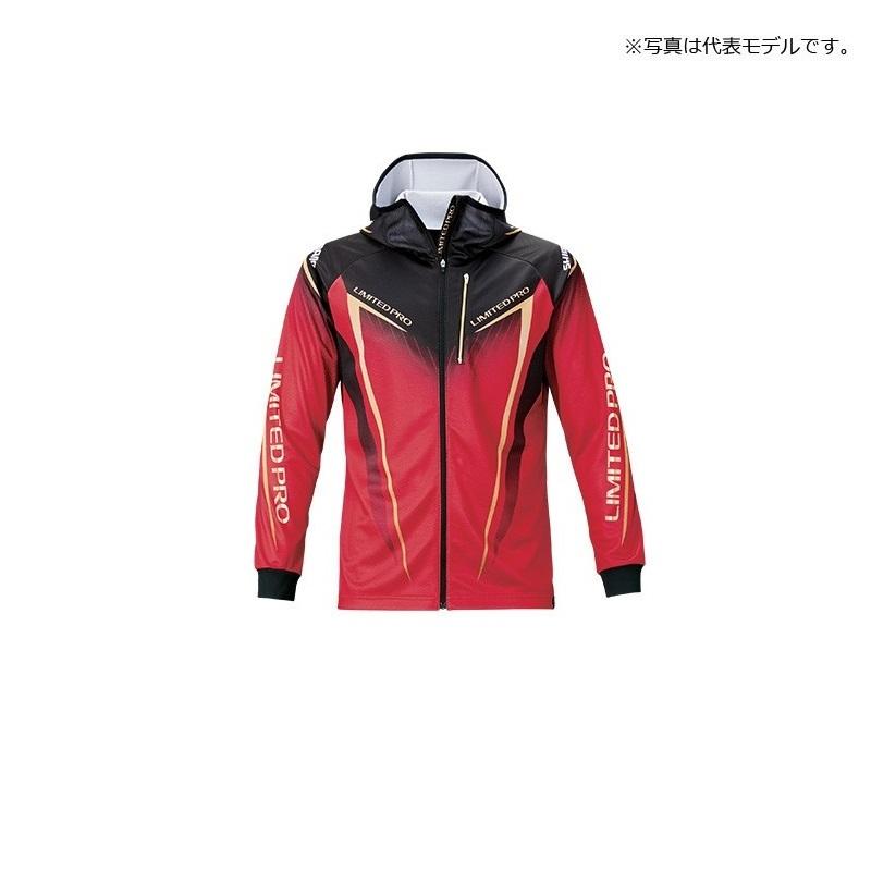 ハイスペック素材 シマノ Shimano SH-013T フルジッププリントフーディシャツ LIMITED PRO 長袖 XL UVカット ジップシャツ 釣具 レッド 上着 男女兼用 人気商品 吸水速乾 釣り具 ウェア