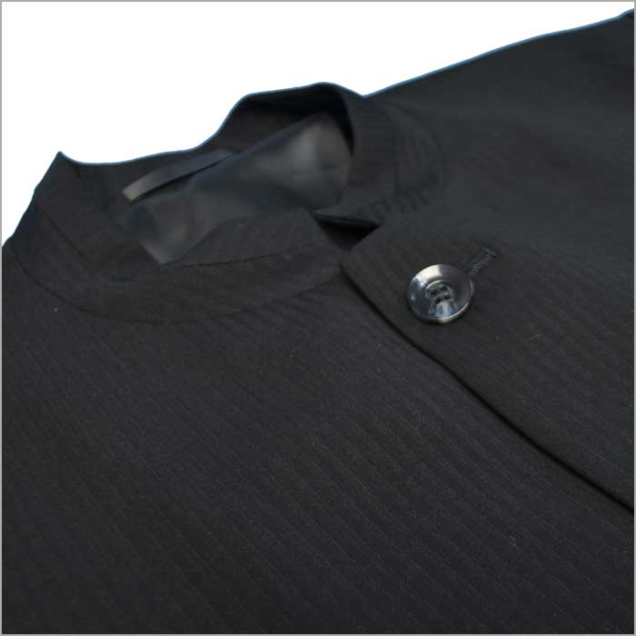 915652d02e401 春夏マオカラースーツマオカラージャケット個性派スタイル黒ブラックオシャレ系ジャガード斜め柄