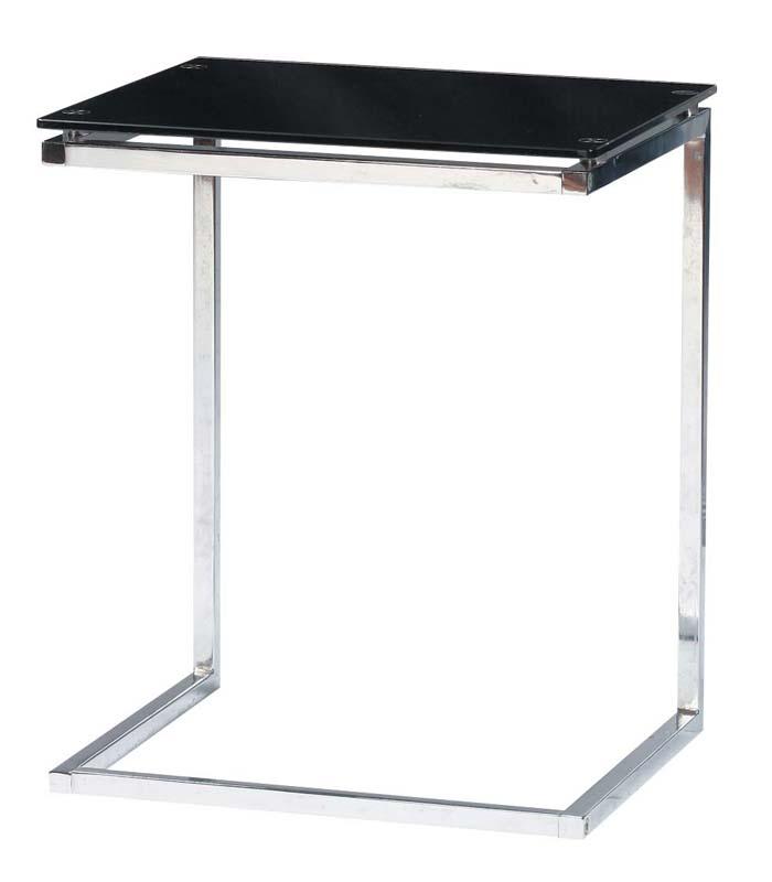 サイドテーブル 8mm強化ガラス 幅45 奥行40 高さ54.5cm クリア/ブラック