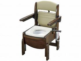 木製トイレ きらくコンパクト 肘掛跳上/リッチェル トイレ及び排泄関連 ポータブルトイレ 木製トイレ 介護用品.