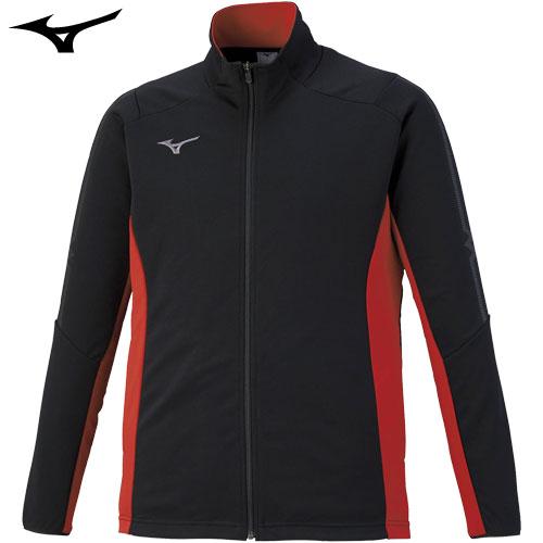 ミズノ(MIZUNO) ジャージ ウォームアップシャツ 2020年モデル ブラック×チャイニーズレッド×ガンメタ M