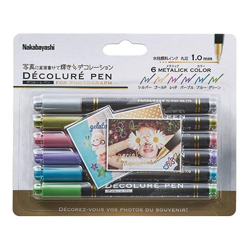 写真に直接書けるメタリックカラーのデコレーションペンです。 ナカバヤシ デコルーレペン メタリック 6色セット DCPN-101-6S