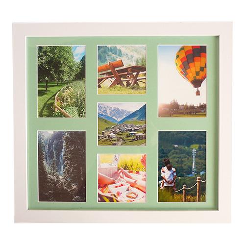 タテ、ヨコ兼用可能。1枚のフレームで写真を複数枚飾ることができ、インテリア性に富んだ仕様。オシャレな空間を演出します。 \期間限定セール/【ネット限定】【メーカー取寄】ナカバヤシ 7WINDOWS【354×328】多面マット式 壁掛け 木製フォトフレーム [ホワイト] IT-FLAME-D W [マットカラー:グリーン]【写真 L判×4枚 ましかくプリントサイズ×3枚 対応】 #300# #301#