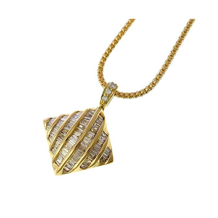 7993312b2211 中古】K18イエローゴールド ダイヤモンドペンダント ダイヤデザイン ...
