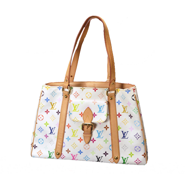 09c9f92a72b71 LOUIS VUITTON and Louis Vuitton multicolor Aurelia MM M40094   tote bag    white  used   free shipping