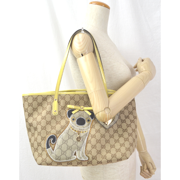 Gucci And Gg Canvas Pr 212374 Tote Bag Oliver Pug Hearts Used