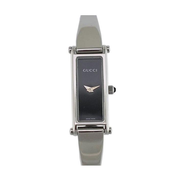 GUCCI グッチ SS レディース腕時計 1500L YA015516 文字盤黒 クオーツ バングルウォッチ 【中古】【送料無料】