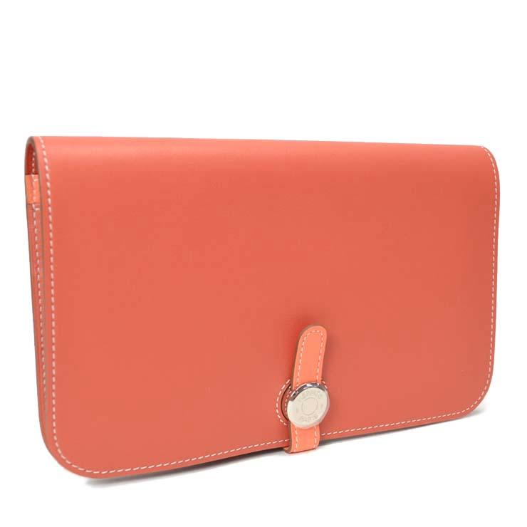 【中古】エルメス 長財布 ドゴン ヴォ-スイフト オレンジ □Q刻印 【送料無料】【美品】