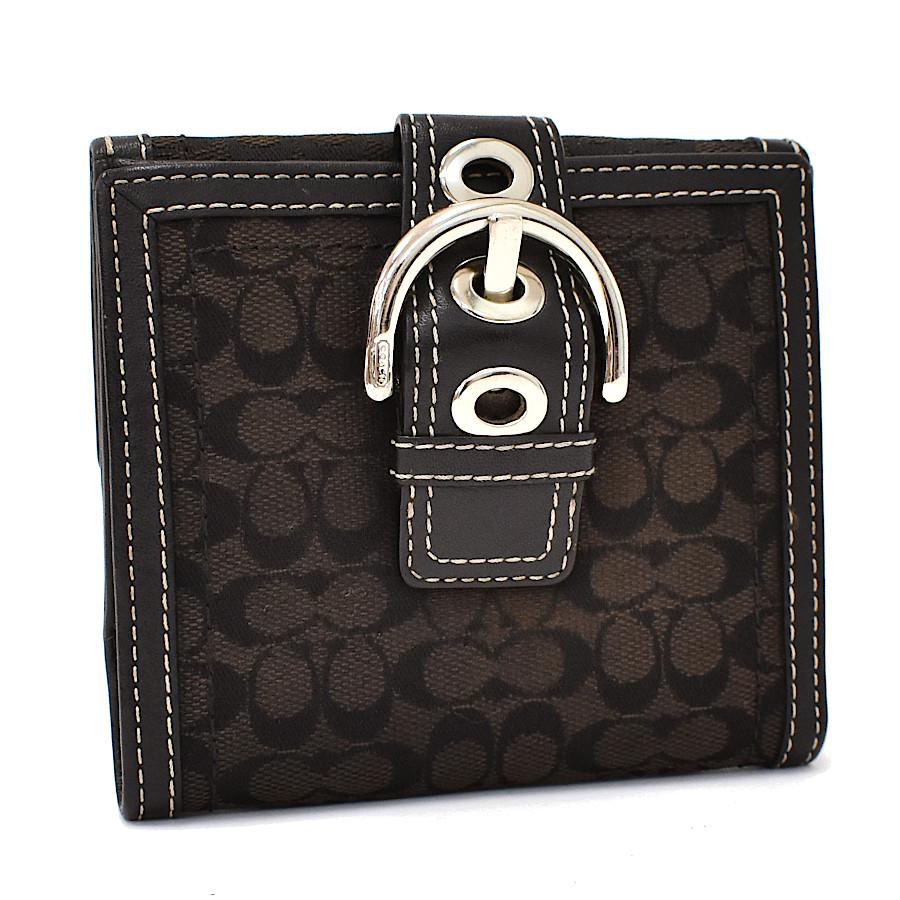 【中古】コーチ 財布 キャンバス レザー 二つ折り財布 COACH ブラック 【送料無料】