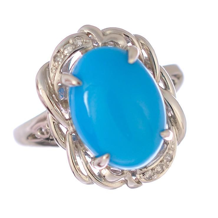 【中古】リング プラチナ900 トルコ石 ダイヤモンド レディース 指輪 #18 [美品] 【送料無料】