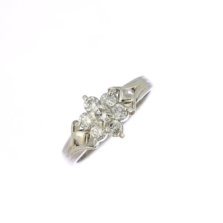 【中古】リング プラチナ900 ダイヤモンド スター ハート フラワー 指輪 Pt900 サイズ:9.5号 ジュエリー レディース [送料無料][美品]