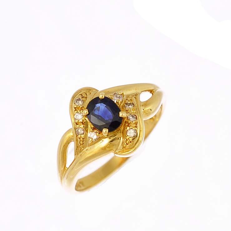 リング K18イエローゴールド サファイア ダイヤモンド オーバル シンメトリー 指輪 K18YG サイズ:10.5号 ジュエリー レディース 【中古】【送料無料】【美品】
