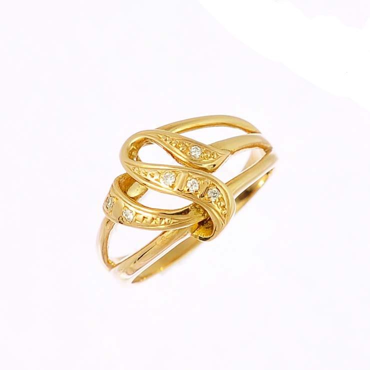 リング K18イエローゴールド ダイヤモンド シェイプ 3連風 指輪 K18YG サイズ:11.5号 ジュエリー レディース 【中古】【送料無料】【美品】