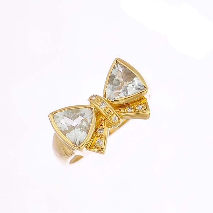 リング K18イエローゴールド アクアマリン ダイヤモンド リボン K18YG 指輪 サイズ:10号 ジュエリー レディース 【中古】【送料無料】【美品】