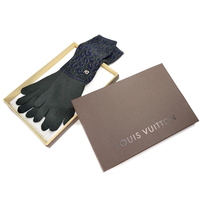 【中古】ルイヴィトン 手袋 レディース レオパード LOUIS VUITTON 深緑 ネイビー 【美品】【送料無料】