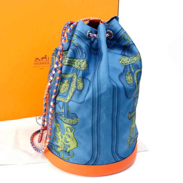 【中古】エルメス 巾着ショルダーバッグ ソワクール22 HERMES ブルー×オレンジ □O刻印 シルク レザー 【送料無料】