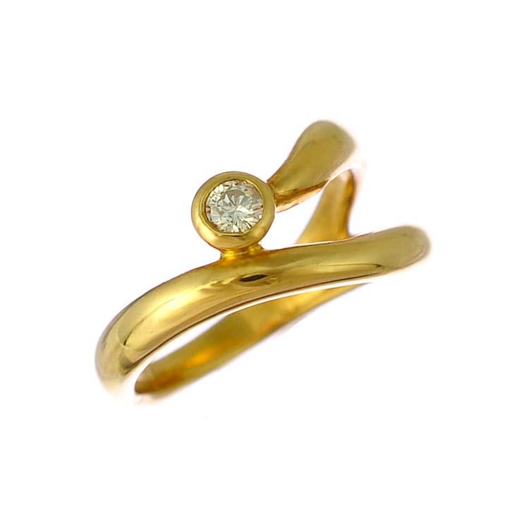 【中古】K18イエローゴールド リング ダイヤモンド 0.08ct K18YG サイズ:5号 [送料無料]