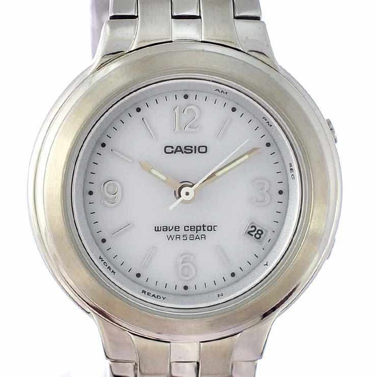 カシオ レディース腕時計 WAVE CEPTOR ウェーブセプター LWQ-120 4382 CASIO 文字盤シルバー タフソーラー SS 【中古】【送料無料】