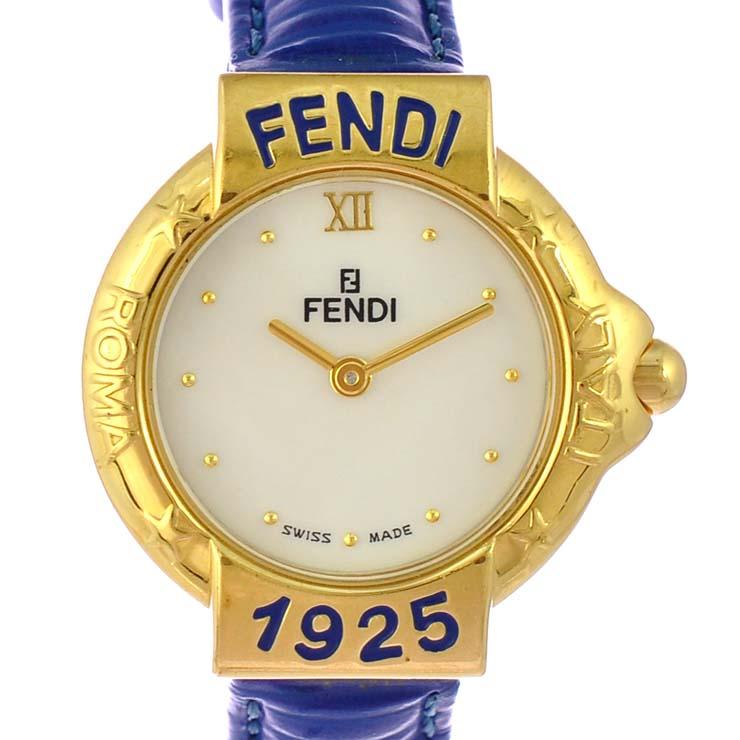d52908b4c7 フェンディレディース腕時計430LFENDI文字盤ホワイトシェルGPレザークオーツ【中古】【送料