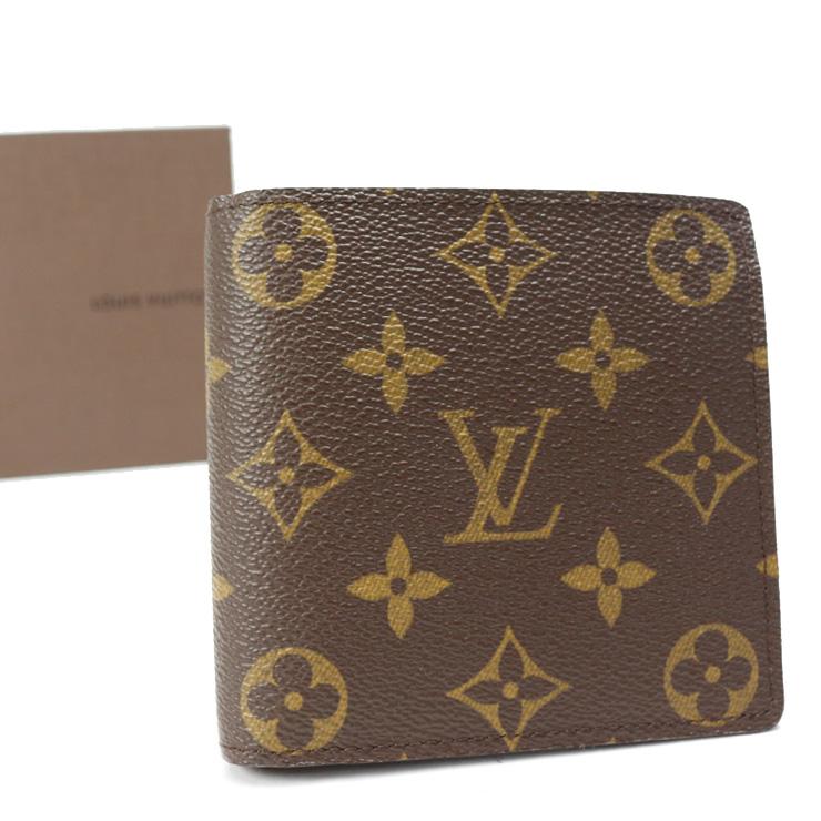 【中古】ルイヴィトン 財布 モノグラム ポルトフォイユマルコ 二つ折り M61675 LOUIS VUITTON ブラウン [美品][送料無料]