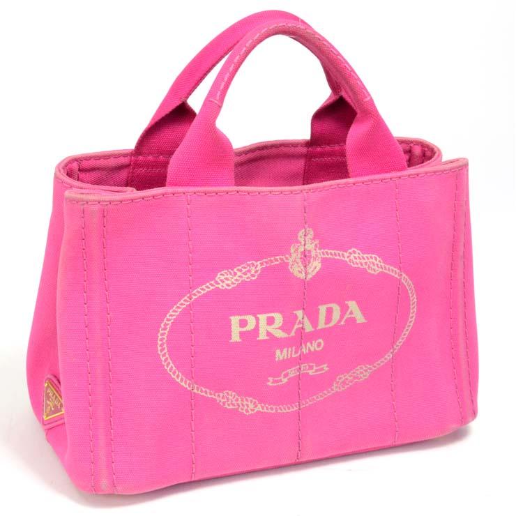 【中古】プラダ トートバッグ カナパ BN2439 PRADA ピンク レディース キャンバス かばん 【送料無料】