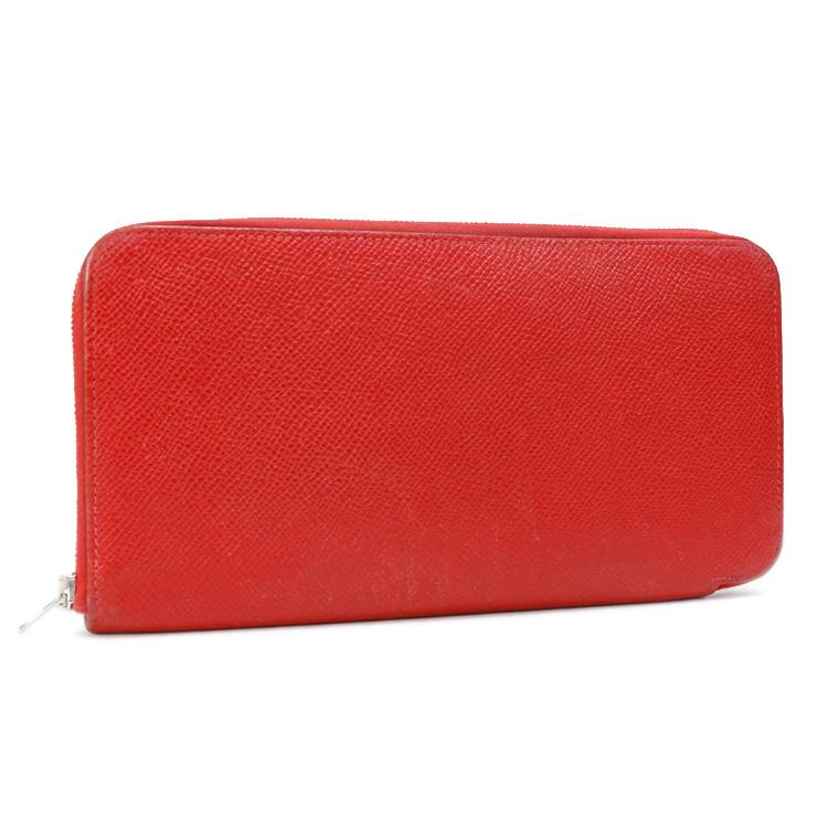 【中古】エルメス 長財布 レザー アザップシルクインロング ファスナー □P刻印 HERMES 赤 【送料無料】