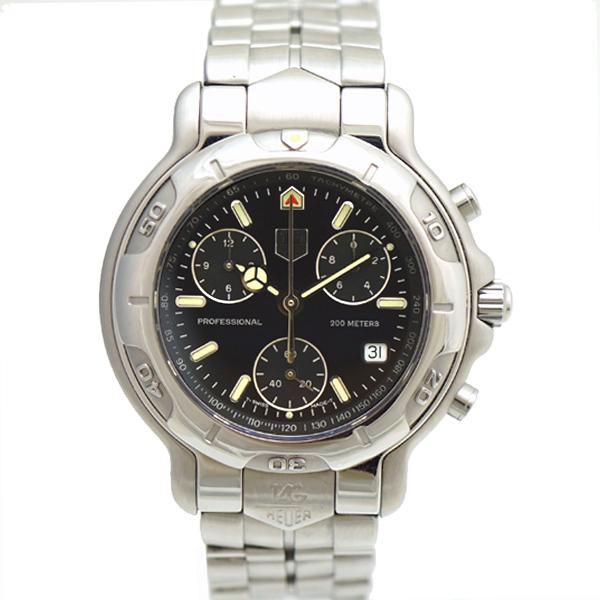 【キャッシュレス5%還元】タグホイヤー メンズ腕時計 クロノグラフ CH1113-0 TAG HEUER 黒文字盤 SS クォーツ 【中古】【送料無料】【美品】