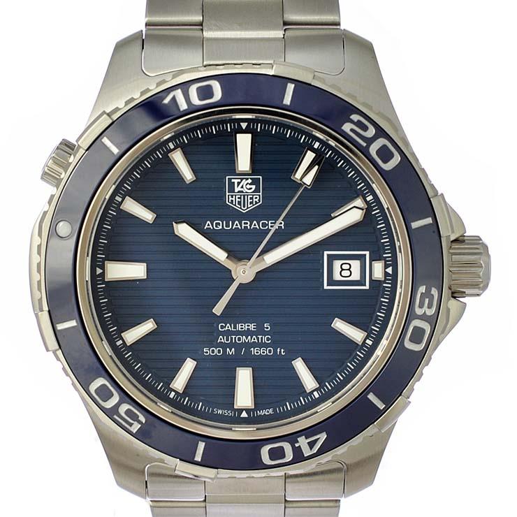 タグホイヤー メンズ腕時計 アクアレーサー500M WAK2111-0 TAG HEUER 文字盤ブルー 自動巻き SS ビジネスマン 【中古】【送料無料】【美品】