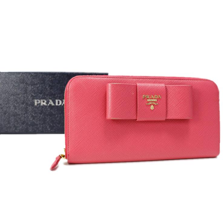 【中古】プラダ 長財布 サフィアーノ ラウンドファスナー PRADA PEONIA ピンク リボン 【送料無料】