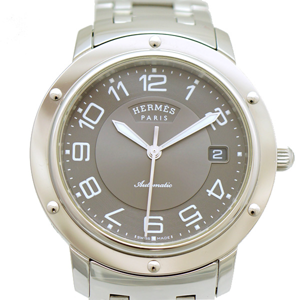 エルメス 腕時計 クリッパー SS メンズ CL2.810 HERMES 文字盤グレー オートマ 【中古】【送料無料】