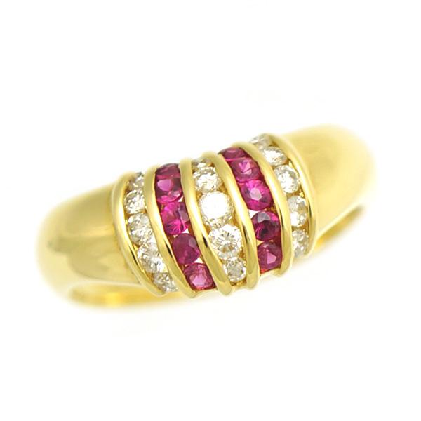 【キャッシュレス5%還元】【中古】リング 指輪 K18 ダイヤモンド 0.35ct ルビー 0.31ct 15号 ジュエリー レディース ダイヤ [送料無料][美品]