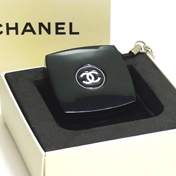 【中古】シャネル ミニコンパクトミラー ノベルティ CHANEL ブラック ストラップ付き 手鏡 小物 箱付