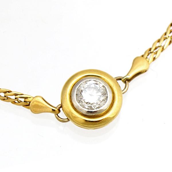 ブレスレット K18 イエローゴールド Pt850 ダイヤモンド 0.50ct K18YG レディース ジュエリー プラチナ 【中古】【送料無料】【美品】