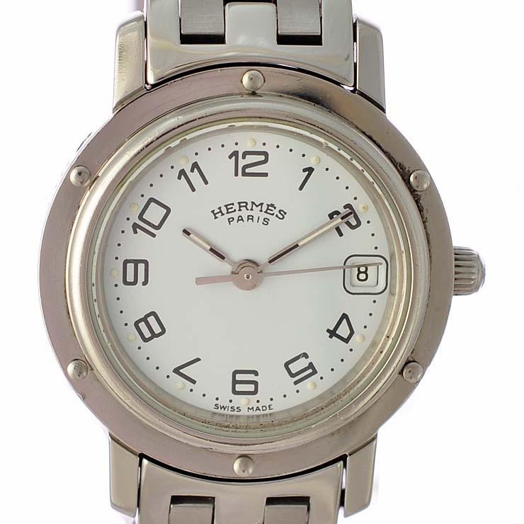エルメス レディース腕時計 クリッパー CL4.210 HERMES 文字盤ホワイト クオーツ SS 【中古】【送料無料】