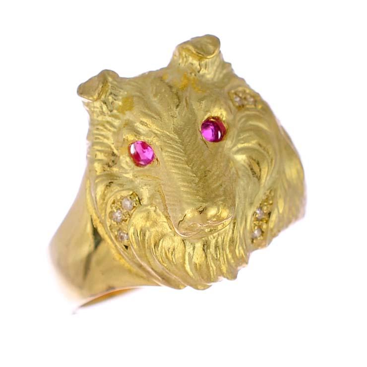 c8cb34c8e372 【中古】リング K18イエローゴールド ルビー ダイヤモンド 犬 アニマル ドッグ 指輪 K18YG ジュエリー レディース