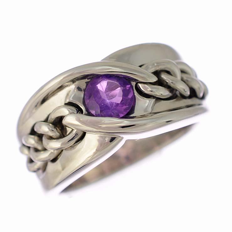 お中元 送料無料 中古 格安 価格でご提供いたします 美品 ジュエリー 指輪 ラウンド 人気 女性 チェーンデザイン レディース 10号 プラチナ900 アメジスト リング エレガントなチェーンデザインのリングです Pt900