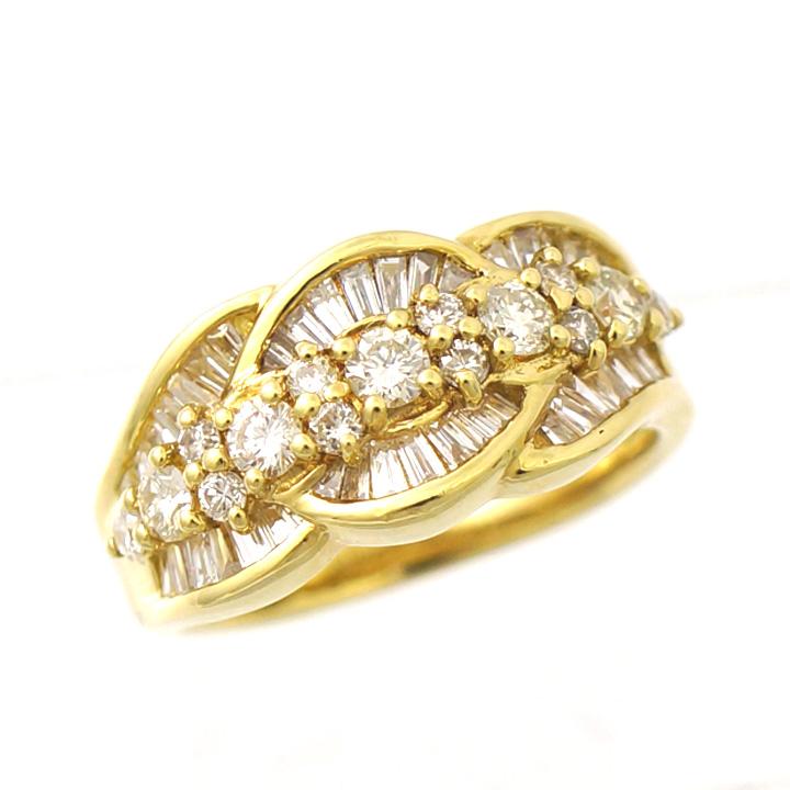 【キャッシュレス5%還元】【中古】指輪 リング K18 ダイヤモンド 1.18ct 11号 レディース ジュエリー [送料無料]