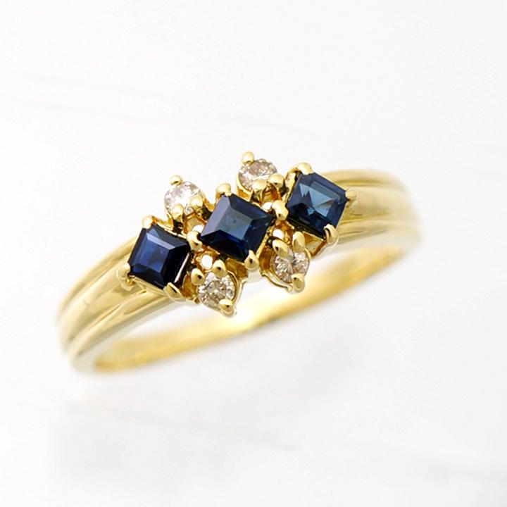 【キャッシュレス5%還元】【中古】ジュエリーマキ 指輪 リング K18 サファイア 0.47ct ダイヤモンド 0.11ct 14号 レディース ジュエリー Jewelry MAKI [送料無料]