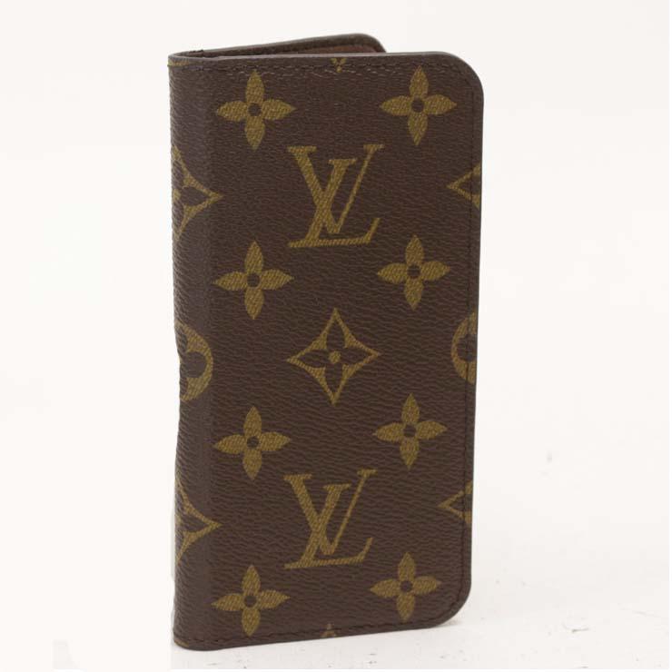 【中古】ルイヴィトン iPhoneケースフォリオ iPhone8 モノグラム ブラウン 手帳型 スマホ M61905 LOUIS VUITTON [送料無料]