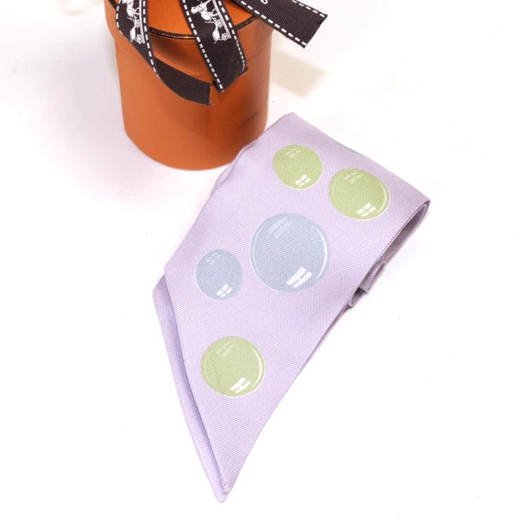 【中古】エルメス バッグスカーフ ツイリーパープル シルク シャボン玉 パープル×ブルー×グリーン HERMES [送料無料]