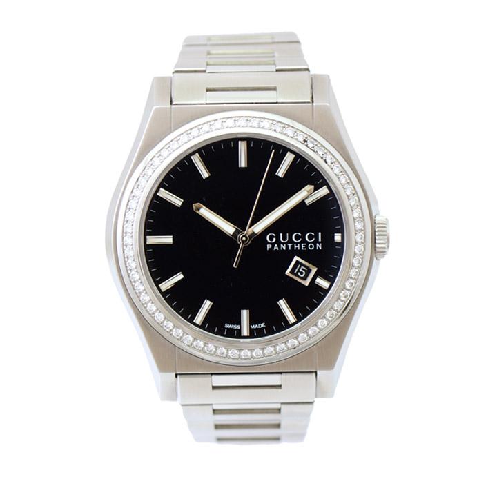 【中古】グッチ メンズ腕時計 パンテオン ダイヤベセ゛ル 115.2 クオーツ SS 文字盤ブラック GUCCI[送料無料]