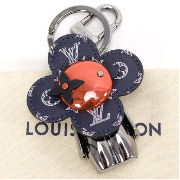 【中古】ルイヴィトン キーリング ポルトクレドゥドゥビエンヌ モノグラム フラワー シルバー ブラック×レッド MP990 キーホルダー LOUIS VUITTON [送料無料]