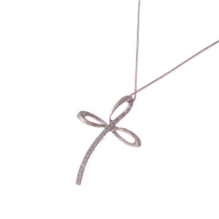 【中古】ペンダント レディース K18WG 750刻印 クロス ダイヤモンド シルバー [送料無料][美品]