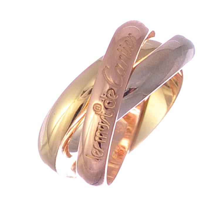 【中古】カルティエ トリニティリング 750 イエローゴールド ピンクゴールド シルバー #52 14号 Cartier [送料無料][美品]