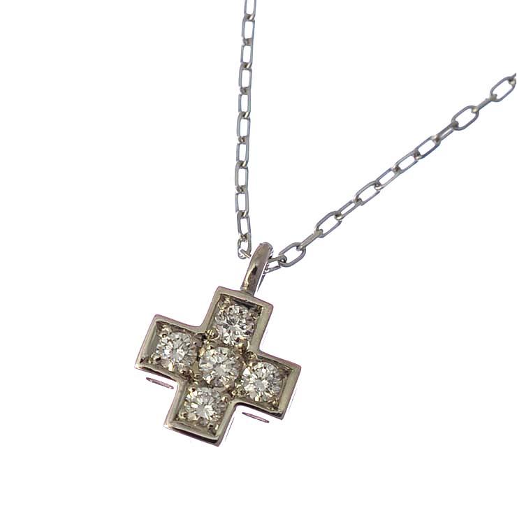 【中古】ペンダント プラチナ900 850 ダイヤモンド 十字架 クロス シルバー [送料無料][美品]