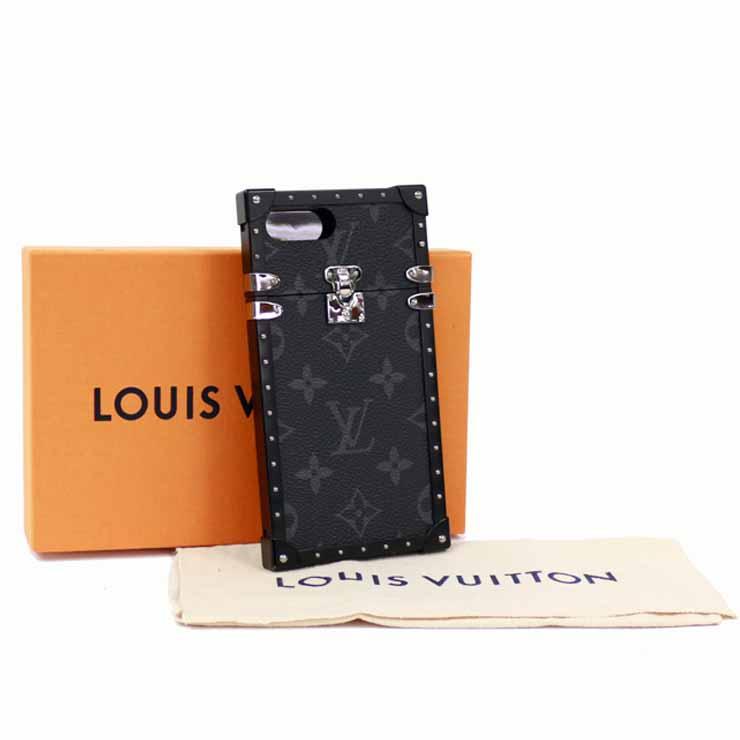 【中古】ルイヴィトン iPhone7+ケース 男女兼用 アイトランク モノグラムエクリプス ブラック M64404 LOUIS VUITTON [送料無料]