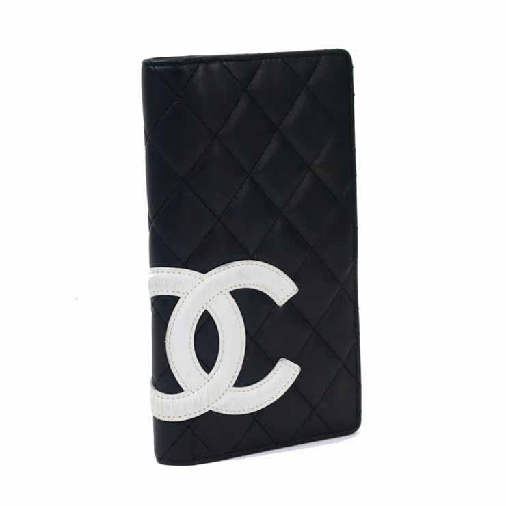 【中古】シャネル 財布 二つ折り財布 カンボンライン レディース ブラック×ピンク CHANEL[送料無料]